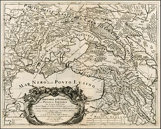 "Cossacks - Italian map of ""European Tartaria"" (1684). Dnieper Ukraine is marked as ""Ukraine or the land of Zaporozhian Cossacks"" (Vkraina o Paese de Cossachi di Zaporowa). On the east there is ""Ukraine or the land of Don Cossacks, who are subjects of Muscovy"" (Vkraina ouero Paese de Cossachi Tanaiti Soggetti al Moscouita)."