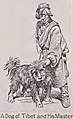 """""""A Dog of Tibet and His Master"""" Tibetan man with Tibetan Mastiff in art dated 1917, The World book;organized knowledge in story and picture, (Vol. 1, A-BEE) (IA worldbookorganiz01unse 1) (page 473 crop).jpg"""