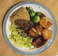 -2019-12-15 Steak and kidney pudding, cabbage, sprouts and roast potatoes, Trimingham, Norfolk (2).JPG