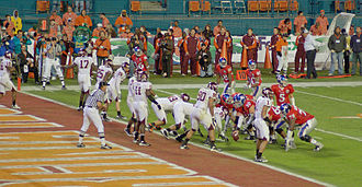 2007 Kansas Jayhawks football team - The Jayhawks ready to score against the Hokies in the Orange Bowl.