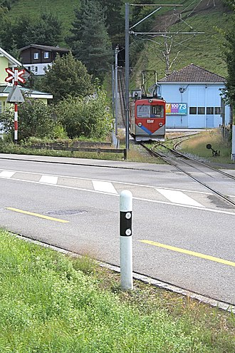 Rheineck–Walzenhausen mountain railway - Car near Ruderbach stop and depot. Note the transition from the level adhesion section to the rack operated former funicular.