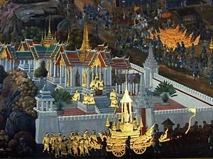 Thai royal funeral - A mural in Wat Phra Kaew depicting the funeral procession, represented in Thai style, of Intharachit (Indrajit) from the epic Ramakien