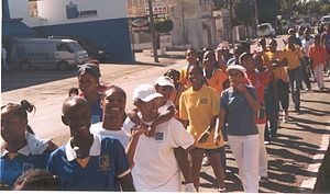 Education in Jamaica - Walk to celebrate the 105th Anniversary of St.Hugh's High School for Girls, January 2004.