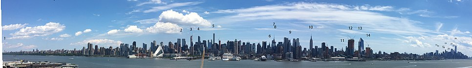 Ten-mile Manhattan panorama from 120th Street to the Battery, taken June 2017 from Weehawken, New Jersey.  # Riverside Church # Time Warner Buildings # 220 Central Park South # One57 # 432 Park Avenue # Chrysler Building # Bank of America Tower # Conde Nast Building # The New York Times Building # Empire State Building # Met Life Tower # Hudson Yards # Hudson Yards # Hudson Yards # 56 Leonard Street # 8 Spruce Street # Woolworth Building # 70 Pine Street # 30 Park Place # 40 Wall Street # Three World Trade Center # Four World Trade Center # One World Trade Center
