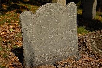 Josiah Leavitt - Tombstone of Josiah Leavitt, grandfather of Dr. Josiah Leavitt, organ builder. Old Hingham Burying Ground, Hingham, Massachusetts.