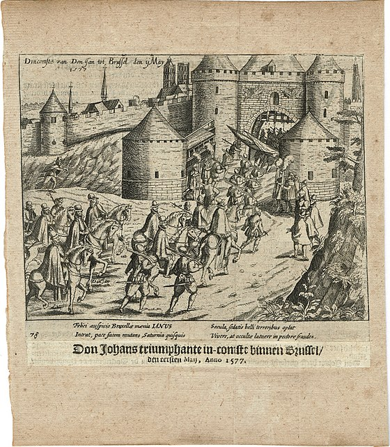 The Joyous Entry of John of Austria into Brussels, 1 May 1577. Print from 'The Wars of Nassau' by W. Baudartius, Amsterdam 1616. 14-4007 Print Baudartius Arrival Don Juan in Brussels 1577 1.jpg