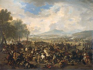 The Battle of Ramillies betwwen the French and the English, 23 May 1706
