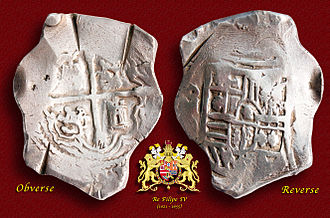 Spanish treasure fleet - A silver 8-Reales (Peso) coin minted in México (1621-65).