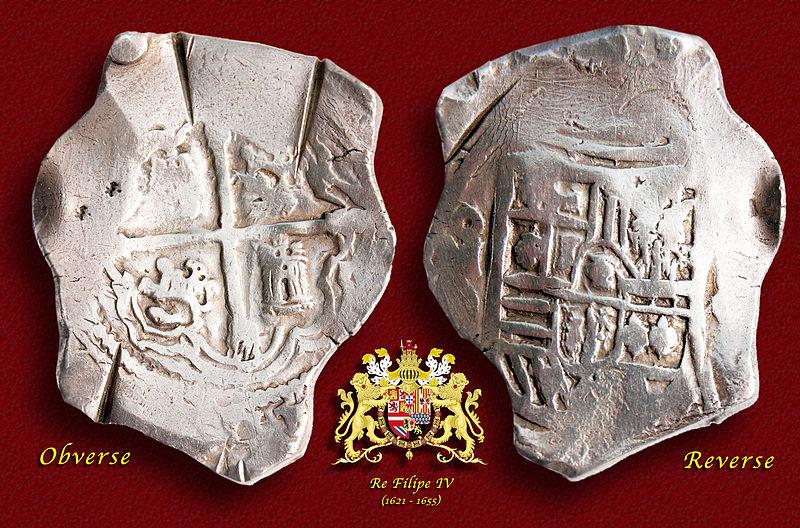 File:17th Century Spanish Treasure Silver 8 Reales Cob Coin.jpg