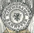 1861-09-21 Ernst August Album, S. 099, Tafel IV Ausschnitt, Zimmeramt Hannover, Trophäe der Zimmerer, 2 Eichenlaubkränze mit Zimmerergeschirr im Blumenkranz.jpg