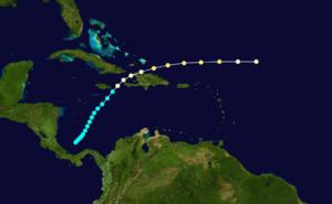 1909 Greater Antilles hurricane - Image: 1909 Atlantic hurricane 12 track