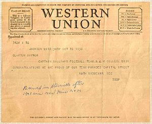 Millsaps Majors football - Image: 1930 Western Union telegram Millsaps College Mississippi State University
