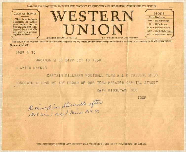 1930 Western Union telegram Millsaps College Mississippi State University