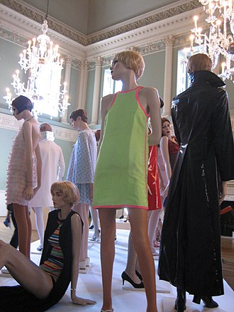 John Bates (designer) - Group of 1960s minidresses designed by John Bates for Jean Varon, including a 1966 fluorescent green micro-mini worn by Marit Allen. Exhibited at the Fashion Museum, Bath, 2006