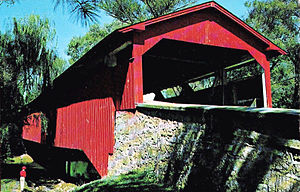 Bogert Covered Bridge - Image: 1965 Bogarts Bridge North Stone Approach