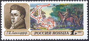 Grigory Langsdorff - Grigory Langsdorff expedition commemorated on a 1992 stamp of Russia
