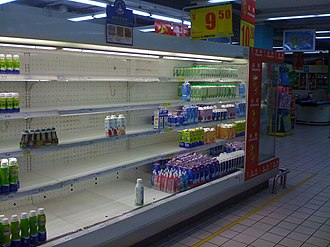 2008 Chinese milk scandal - Empty milk shelf as a result of the scandal in a Carrefour store in China