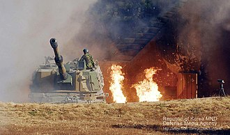 Republic of Korea Marine Corps - ROKMC K9 self-propelled howitzer preparing counterattack after the initial attack from North Korea.