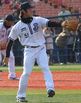 20111123 Junya Ohhara, infielder of the Yokohama BayStars, at Yokohama Stadium.jpg