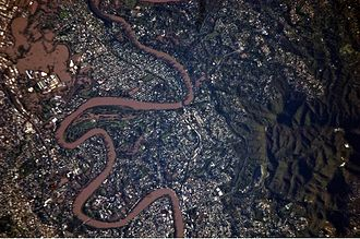 2011 in Australia - This detailed astronaut photograph illustrates flooding in suburbs of the Brisbane area.