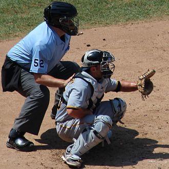 Bill Welke - Image: 20120801 Michael Mc Kenry catching and Bill Welke umpiring cropped