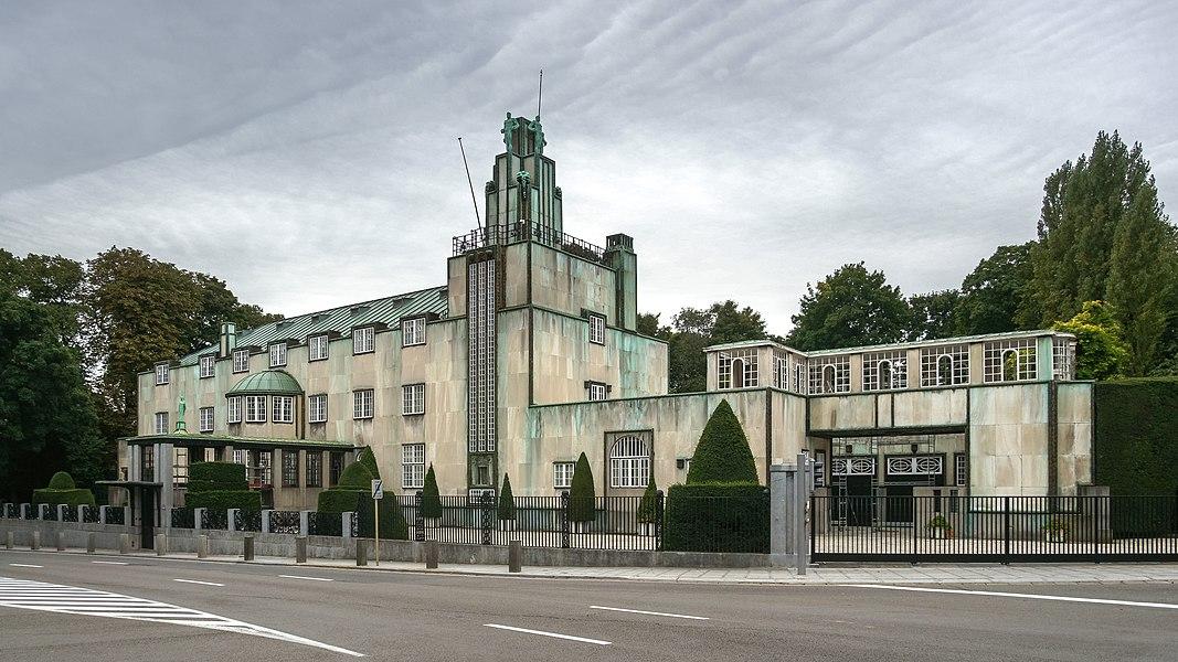 Art Deco geometric sky scraper glass female nude Vase woman with geo building