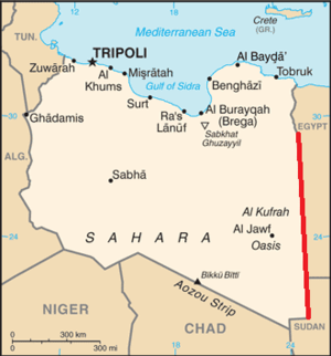 25th meridian east - The 25th meridian east delineates most of Libya's eastern border with Egypt and Sudan