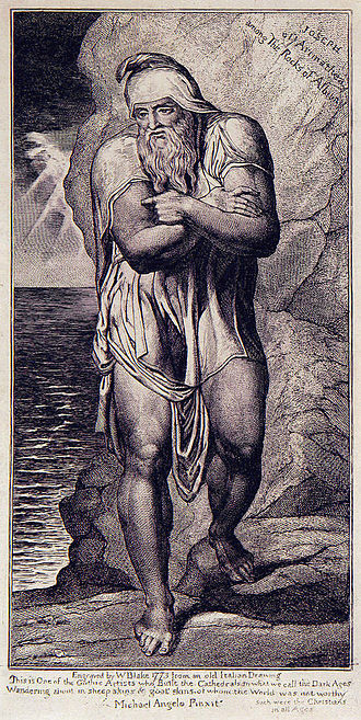 Joseph of Arimathea - William Blake's Illustration Joseph of Arimathea Among the Rocks of Albion in its second state after Blake's 1773 original, engraved circa 1809