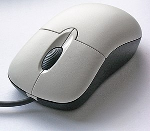 Computer mouse - A computer mouse with the most common features: two buttons (left and right) and a scroll wheel, which can also act as a third button.