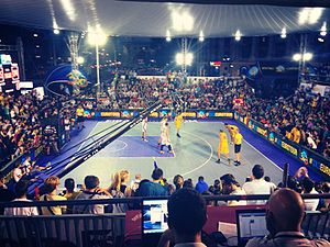 3x3 (basketball) - A men's international match between Romania and Slovenia in Bucharest (September, 2014)