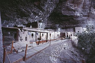 Indigenous peoples of Mexico - The large building in the Cueva de las Ventanas with Room 5 in the background.