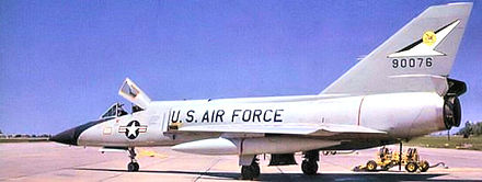F-106 Delta Dart, AF Ser. No. 59-0076, circa 1967 with a subdued grey livery and squadron emblem as part of the tail markings - Kincheloe Air Force Base