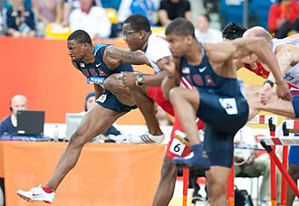 David Oliver (hurdler) - Oliver leading the 60 m hurdles at the 2010 IAAF World Indoor Championships.