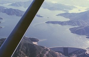 Central Valley Project - Shasta Dam, with Shasta Lake at its highest level, July 1965