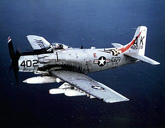 Douglas A-1 Skyraider - An A-1J of VA-176 loaded with ordnance for a mission in Vietnam in 1966