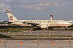 A6-DDA Etihad Airways Boeing 777-FFX lining up on Rwy 18 for departure to Abu Dhabi (AUH - OMAA) @ Frankfurt - Rhein-Main International (FRA - EDDF) - 13.05.2017 (34519689331).jpg