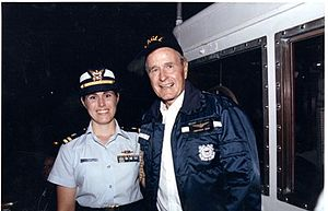 Bay-class icebreaking tug - President George Herbert Walker Bush tours ''Katmai Bay'' (WTGB-101) with the Commanding Officer, Coast Guard Lieutenant (Now Vice Admiral) Sandra L. Stosz in 1990.