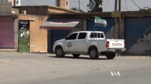 Jaysh al-Salam - A Toyota Hilux belonging to the Tahrir Brigade, Jaish al-Salam's former main subgroup in the Raqqa Governorate
