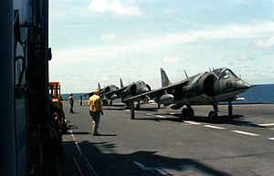 USS Belleau Wood (LHA-3) - AV-8A Harriers of VMA-513 line up for launching from Belleau Wood in May 1982