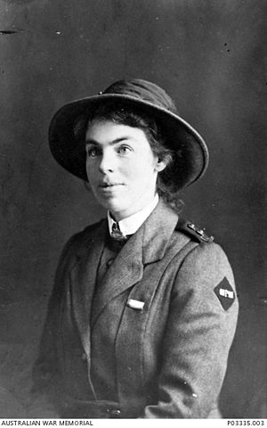 ANZAC A badge - An Australian Army Nursing Service sister wearing the ANZAC A badge on her left shoulder.