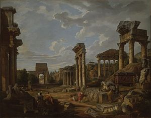 Giovanni Paolo Panini - Image: A Capriccio of the Roman Forum by Giovanni Paolo Panini 1741