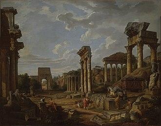 Giovanni Paolo Panini - Image: A Capriccio of the Roman Forum by Giovanni Paolo Panini 1741