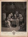 A family group of five singing around a table to the accompa Wellcome V0015837.jpg
