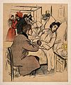 A man visits a woman in hospital. Colour photomechanical rep Wellcome V0011896.jpg