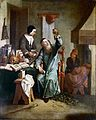 A physician examining a urine-flask brought by a woman. Oil Wellcome M0013918.jpg