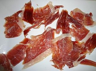 Jamón serrano - A plate of jamón serrano in Madrid
