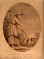 A shoeless blind girl is led by a dog on a path. Sepia stipp Wellcome V0015869.jpg