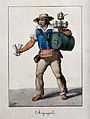 A water-carrier carrying his barrel of water, with glasses a Wellcome V0039629.jpg