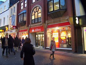 Abbey National - A branch of Abbey on Commercial Street, Leeds showing Santander marketing material in the windows in January 2010.