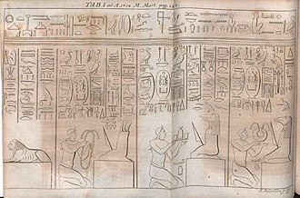 Egyptian hieroglyphs - Illustration from Tabula Aegyptiaca hieroglyphicis exornata published in Acta Eruditorum, 1714